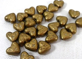 x25 Pewter Brass Heart Beads