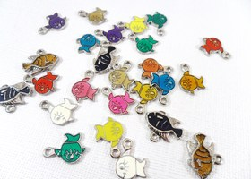 x25 Vibrant Enameled Fish Charms
