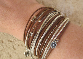 Boho Chic Tan Leather Wrap Bracelet with Metallic Silver Miyuki Beads