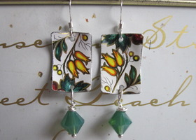 Vintage Tin Earrings--Lemon Drops