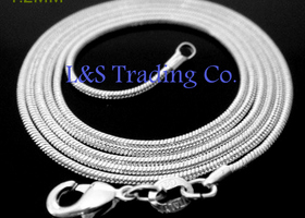 "10 /.925 18"" OR 20"" 1mm Sterling Snake Chains"