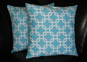 Turquoise Chain Link Pillow Covers set of TWO 18""