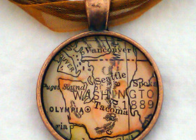 Custom Vintage Map Jewelry - Choose the Map, Pendant and Necklace
