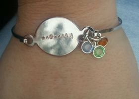 Mommy Bangle Bracelet with Swarovski Crystal Birthstone
