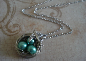 Sea Green Sparrow Bird Nest Necklace