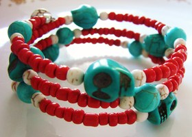 Coil Wrap Skull Bracelet in Southwestern Colors