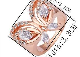 Butterfly 18k Rose GP Swarovski Crystals Ring