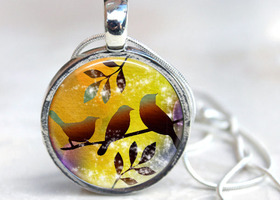 Watercolor Birds Interchangeable Magnetic Necklace