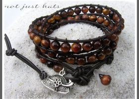 ♥3X NATURAL TIGER EYE Leather Wrap Bracelet ♥