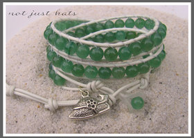 ♥3X GREEN AVENTURINE Leather Wrap Bracelet ♥