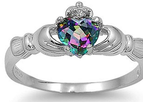 Sz 4-10 Claddagh Sterling Silver Rainbow Topaz Ring