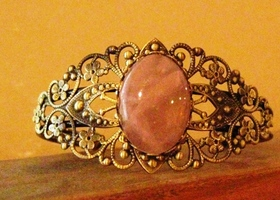 Antiqued Brass and Genuine Rose Quartz