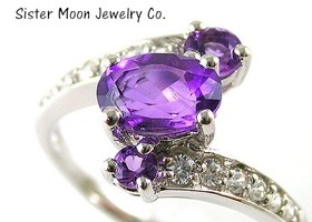 Genuine 1.39 Ct Amethyst Platinum Ring