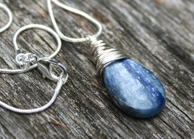 Wire Wrapped Kyanite and Sterling Silver Neck