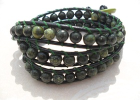 Gemstone Triple Wrap Bracelet on Leather