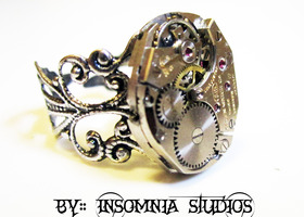 Steampunk watch movement ring, Gruen 215