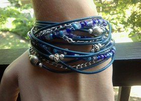 Sapphire Blues BOHO Triple Wrap Leather Bracelet