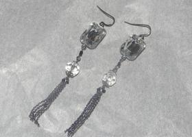 Vintage Silver & Clear Rhinestone Earrings