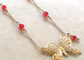 Golden Art Nouveau Butterfly Necklace