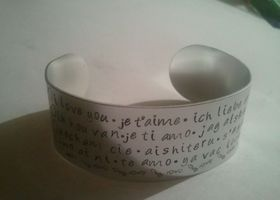 Handstamped I love you in 12 languages bracelet cuff