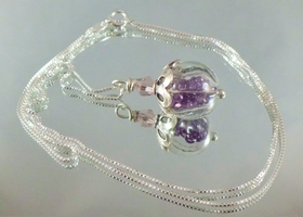 Amethyst swarovski crystal ball necklace