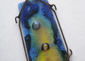 OOAK Stained Bubble Glass Pendant - Upcycled