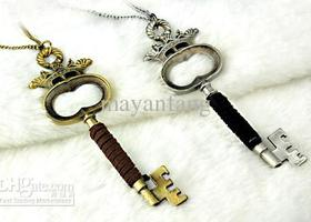 Leather Wrapped Antiqued Key Necklace Choose color