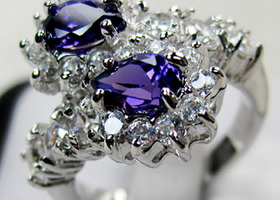 Gorgeous Amethyst 10K White Gold Filled Ring Size 8