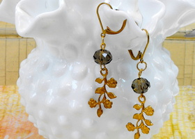 Vintage Leaf and Smokey Suncatcher Dangle Earrings