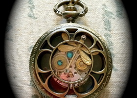original small dragonfly steampunk-inspired locket