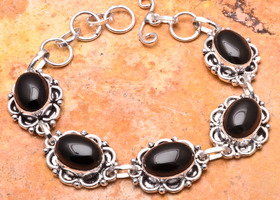 Genuine Natural Black Onyx .925 Bracelet