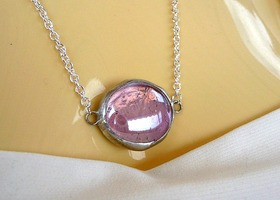 Stained Glass Necklace * Pink Orchid Crackle