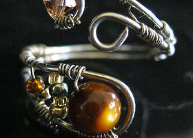 Sterling Silver Ring Amber Crystal & Tiger's Eye