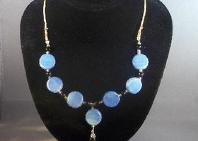 Blue Ceramic Bead Necklace with Earrings