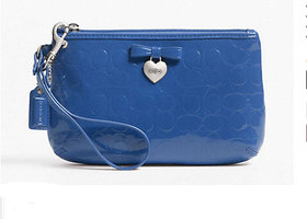 COACH Embossed Liquid Gloss Wristlet- Blue - BNWT