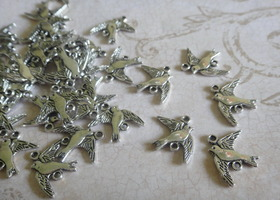 Lot of 24 Antique Silver Bird Connector Charms