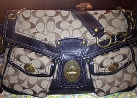 EUC Coach 11141 Leigh Signature Pocket Flap Handbag
