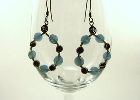 Handmade Hoop Earrings With Faceted Brazilian Aquamarine And Gunmetal Beads On Gunmetal Wire