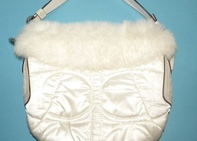 Coach Winter White Ski Hobo with Rabbit Fur Trim