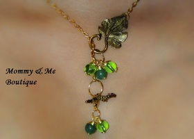 Jade Grape Leaf adjustable dangel Necklace and Earring set