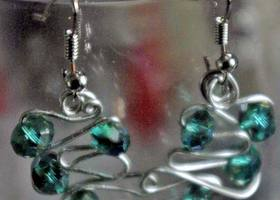 Teal and Silver wire Squiggles earrings.