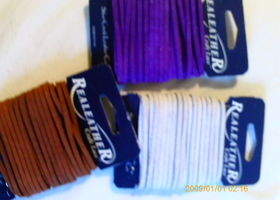 "24yds suede leather craft lace 1/8"" brown white purple"