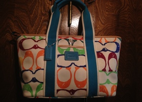 Coach Scribble Print Canvas tote