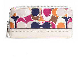 COACH Park Hand Drawn Scarf Print Zip Around Wallet New