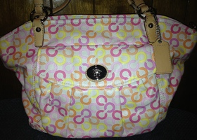 Authentic Coach Signature Op Art Leah Coated Canvas