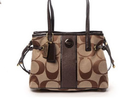 Coach New! Signature Stripe MINI Carryall F22907 Khaki