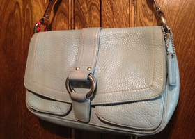 EUC Coach Chelsea Flap Handbag Leather Powder Blue