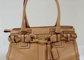 Coach Hamptons Carryall Pebbled Satchel EUC