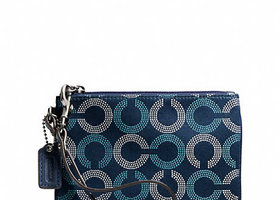 NWT Coach Ashley Dotted Op Art Wristlet-F49460