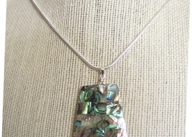 Natural Abalone Necklace 100% 925 Solid Sterling Silver